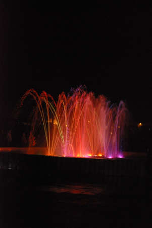 excretion: Water fountain at night