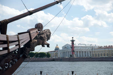 Lion-shaped rostrum on Neva river, St Petersburg, Russia photo