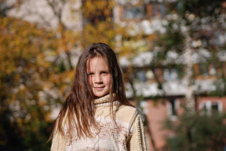 girl with blown  about from wind hairs Stock Photo - 5652312