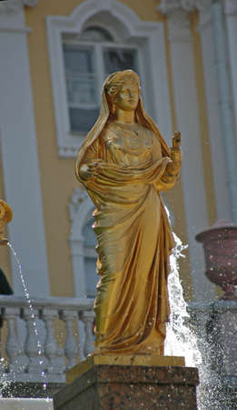 Ensemble of Grand Cascade in Petrodvorets (Peterhof) St. Petersburg, Russia photo