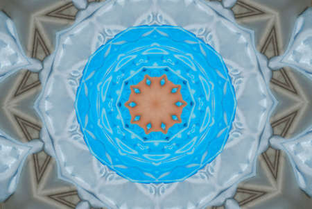 Abstract pinwheel kaleidoscope in shades of blue and gray. Stock Photo - 6377797