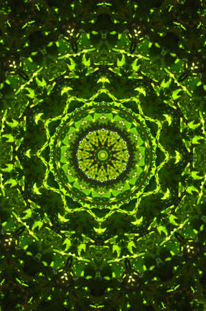 Green kaleidoscope made of diffused rectangles. Illustration made on computer. illustration