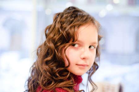 cute girl with very long hair photo