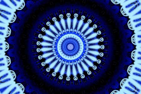 shooting star flower: Dark blue ornament, kaleidoscope