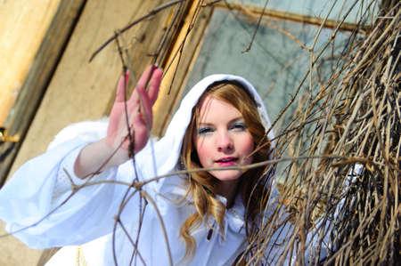 Blond beautiful girl wearing white fleece hood Stock Photo - 6631626