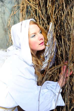 Blond beautiful girl wearing white fleece hood Stock Photo - 6631633