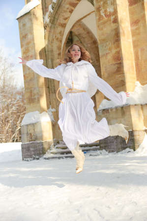 cassock: Blonde girl with long hair and angels wings