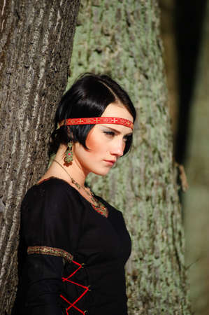 The girl in a medieval dress of the hunter photo
