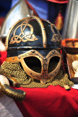 protective shield: Ancient helmet of Vikings with the Celtic ornament