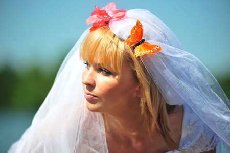 Portrait of the bride with a veil and butterflies photo