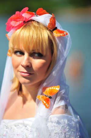 Portrait of the bride with a veil and butterflies Stock Photo - 7101006