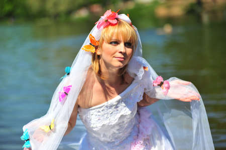 Portrait of the bride with a veil and butterflies Stock Photo - 7100993