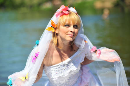 Portrait of the bride with a veil and butterflies Stock Photo - 7100988