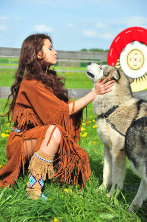 American Indian Woman near to Husky Stock Photo - 7148865