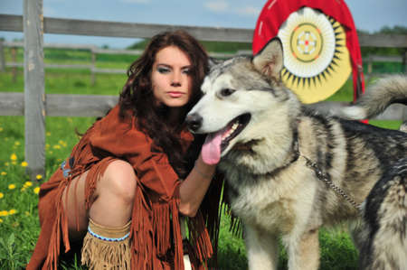 American Indian Woman near to Husky photo