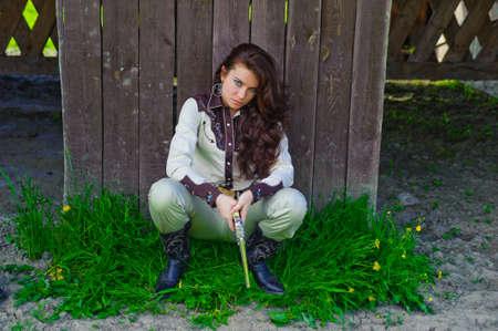 Cowboy girl. retro fashion photo photo