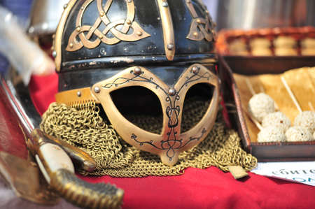 chain armour: Ancient helmet of Vikings with the Celtic ornament