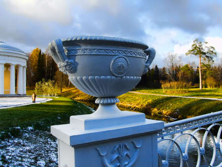 Antique vase in ancient park photo