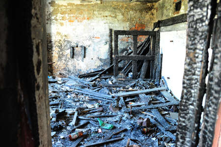 thrown: Room of the burned down house Stock Photo