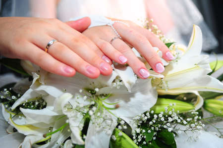 Hands of a newly-married couple with wedding rings photo
