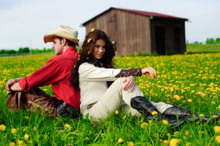 Love story in cowboys style photo