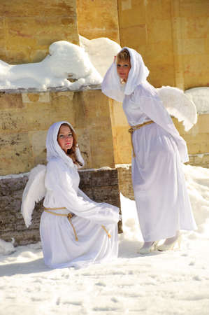 Two white angels photo
