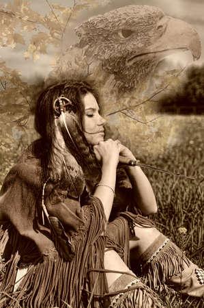 indio americano: La ni�a en un traje de los ind�genas americanos. Foto ejecutado en un estilo retro