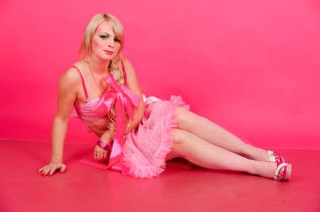 blonde in pink photo