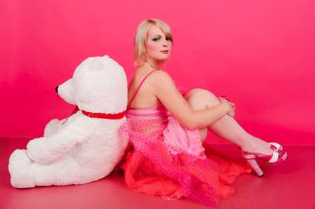 girl with teddy bear photo