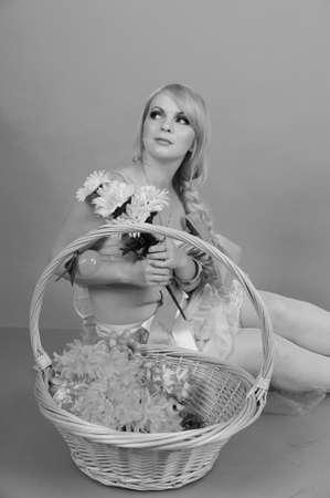 blonde picture in retro style photo