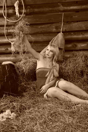 Blond in the hayloft photo