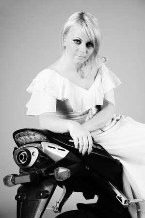 girl on motorcycle photo