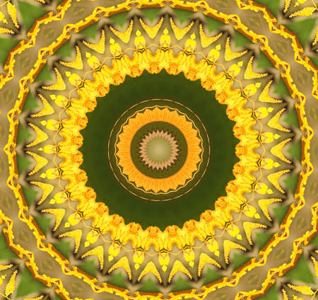 Kaleidoscope in pretty harvest colors of  yellow and green. Stock Photo - 8241129