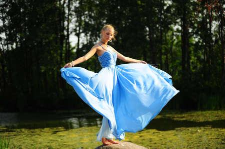 girl in blue dress photo