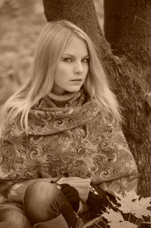 Blonde girl portrait photo