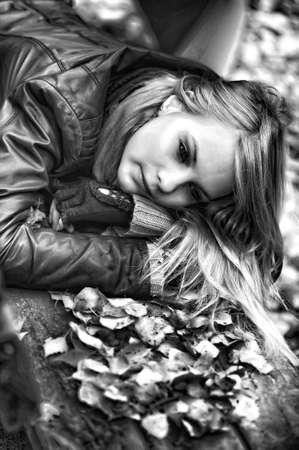 sad blonde photo