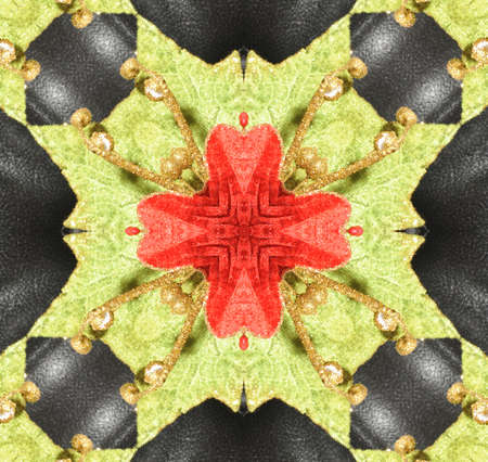 Original pattern textured with collage from leaves like flower Poinsettia (Christmas star or Winter rose). Stock Photo - 8296783