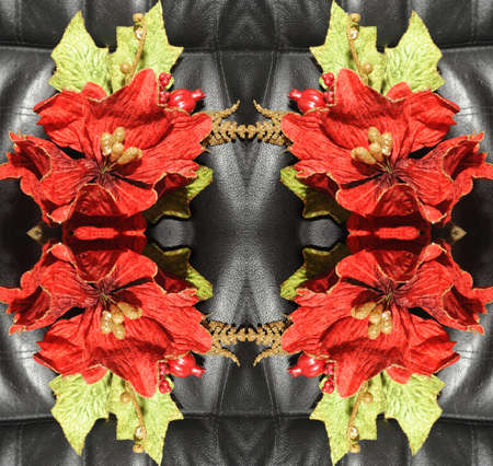 Original pattern textured with collage from leaves like flower Poinsettia (Christmas star or Winter rose). Stock Photo - 8296789