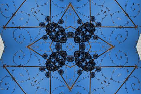 Kaleidoscope, blue and black pattern photo