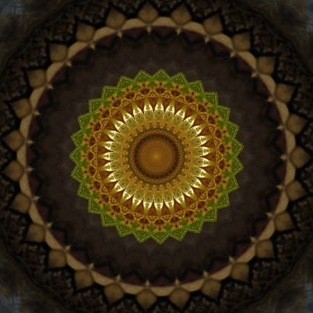 psychedelic background: brown and yellow kaleidoscope pattern