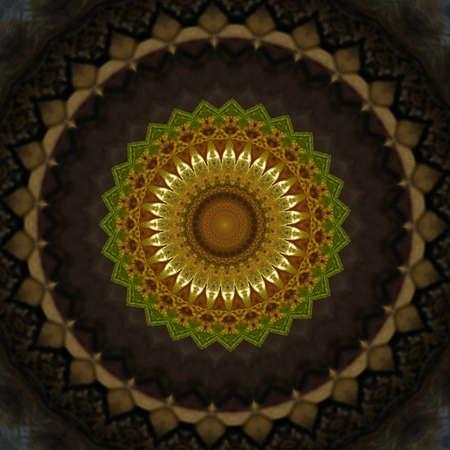 muslin: brown and yellow kaleidoscope pattern