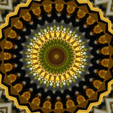 brown and yellow kaleidoscope pattern photo