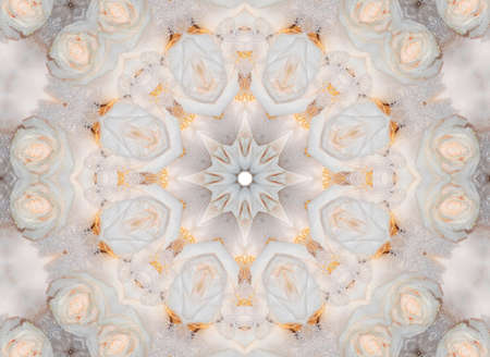 dualistic: ornament of white roses