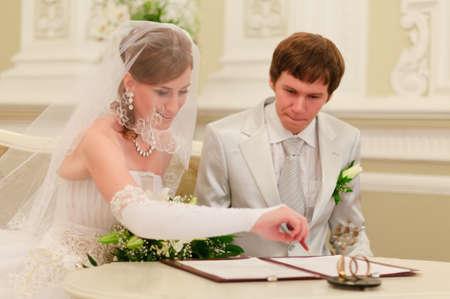Couple Sign Wedding Register Stock Photo - 8455762