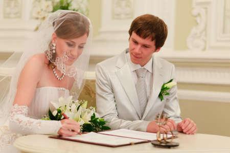 Couple Sign Wedding Register Stock Photo - 8455765