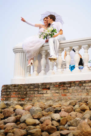 enticement: Wedding Couple Stock Photo