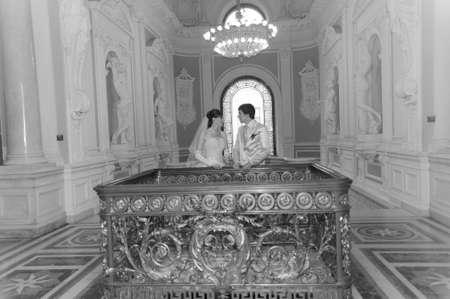 newlyweds in a beautiful palace Stock Photo - 9000222