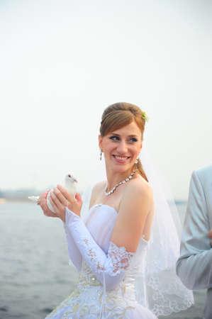 bride with dove photo