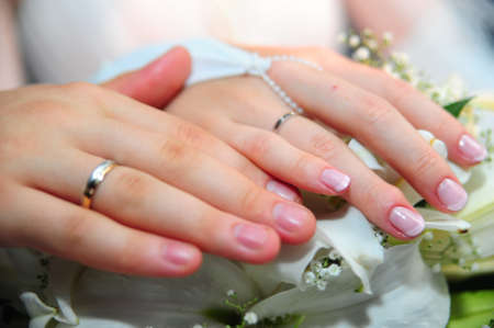 Hands of a newly-married couple Stock Photo - 11980978