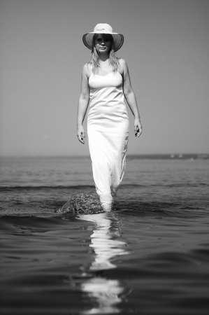 girl in white dress in the sea Stock Photo - 9724512